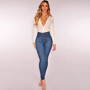 High Waisted Skinny Denim Stretch Slim Length Jeans