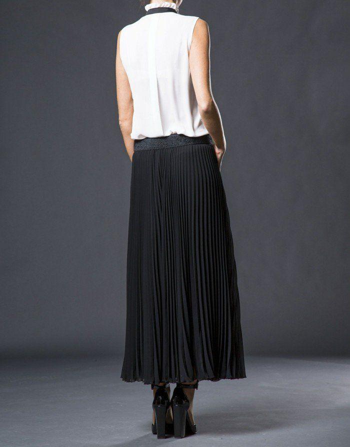 look jupe plissée noire