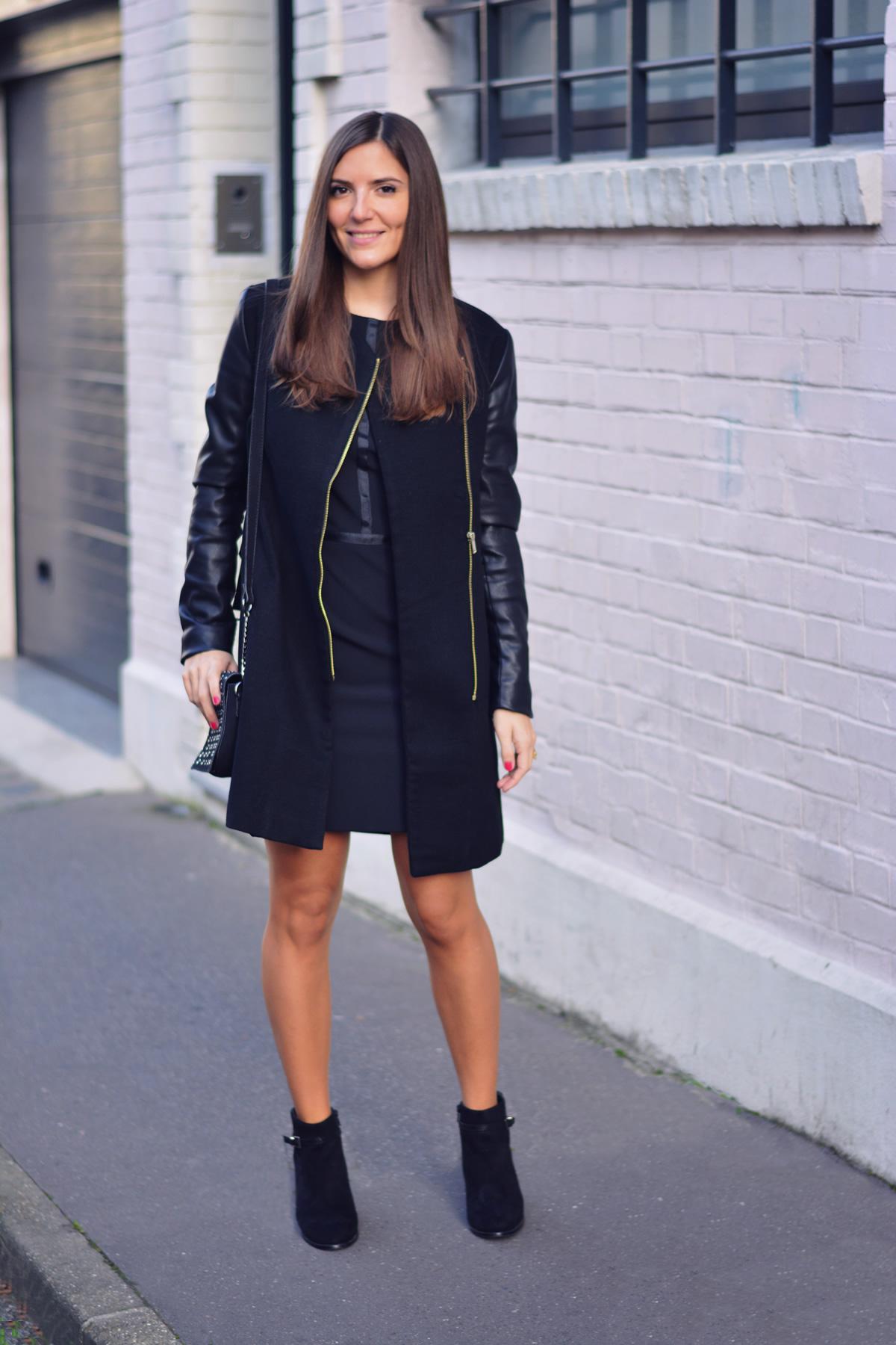 look avec manteau noir