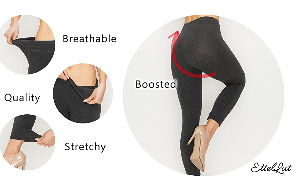 EttelLut Cotton Spandex Basic Leggings Pants-Jersey Full Capri Regular Plus Size