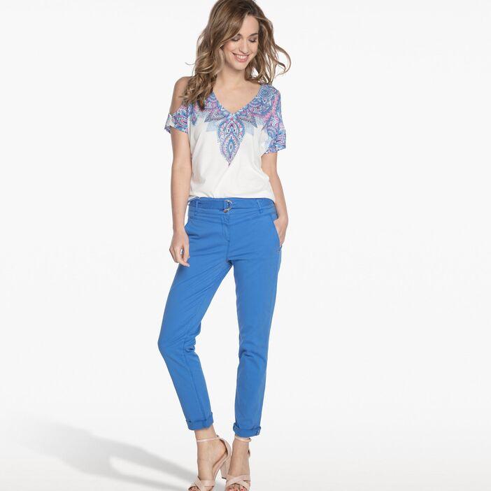 pantalon bleu clair femme avec quoi