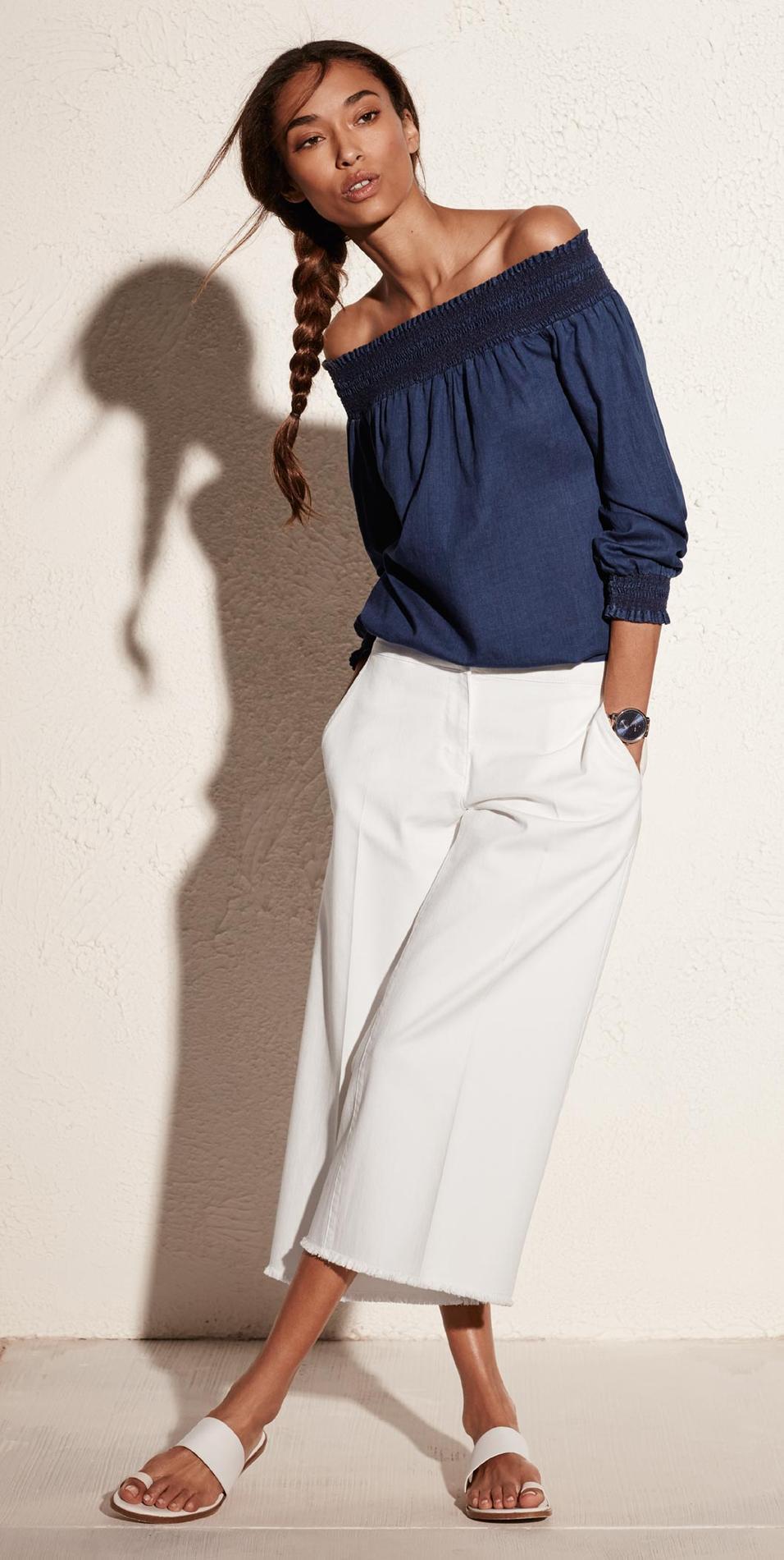 que mettre avec un pantalon en lin blanc