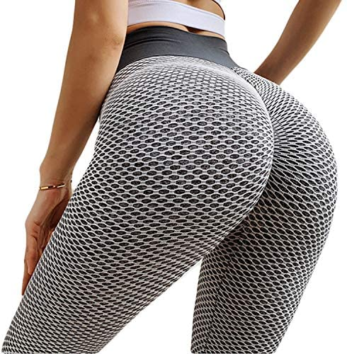 High Waist Yoga Pants for Women Tummy Control Stretch Yoga Leggings Workout Running Butt Lift Textured Tights
