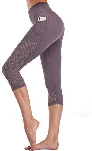 Women/'s High Waist Yoga Pants Pocket Fitness Sports Capri Leggings Plus Size OB