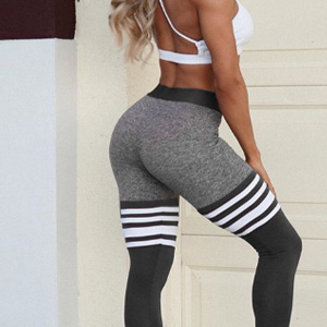 tigh hight striped seamless workout leggings High waisted butt lift booty lifting striped Leggings