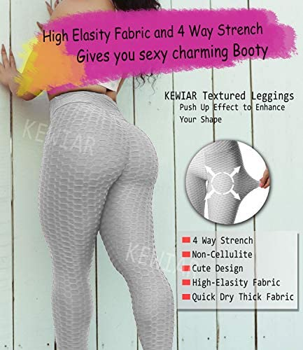 KEWIAR High Waist Yoga Pants Tummy Control Ruched Butt Lifting Stretchy Leggings Workout Running Booty Tights