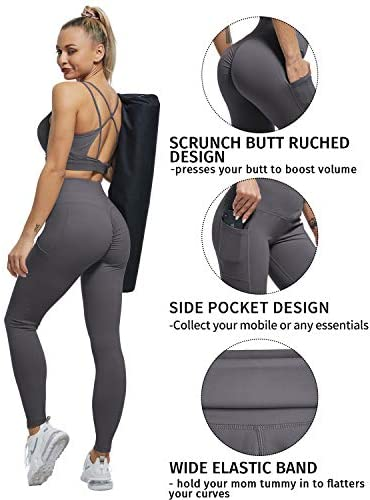 ATHVOTAR High Waisted Yoga Pants with Pockets for Women Workout Running Tummy Control Yoga Leggings with Pockets