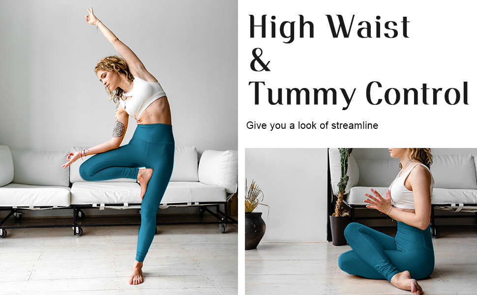4 Way Stretch Squat Proof High Waisted Tummy Control Workout Leggings with Pockets for Women ESPIDOO Yoga Pants for Women
