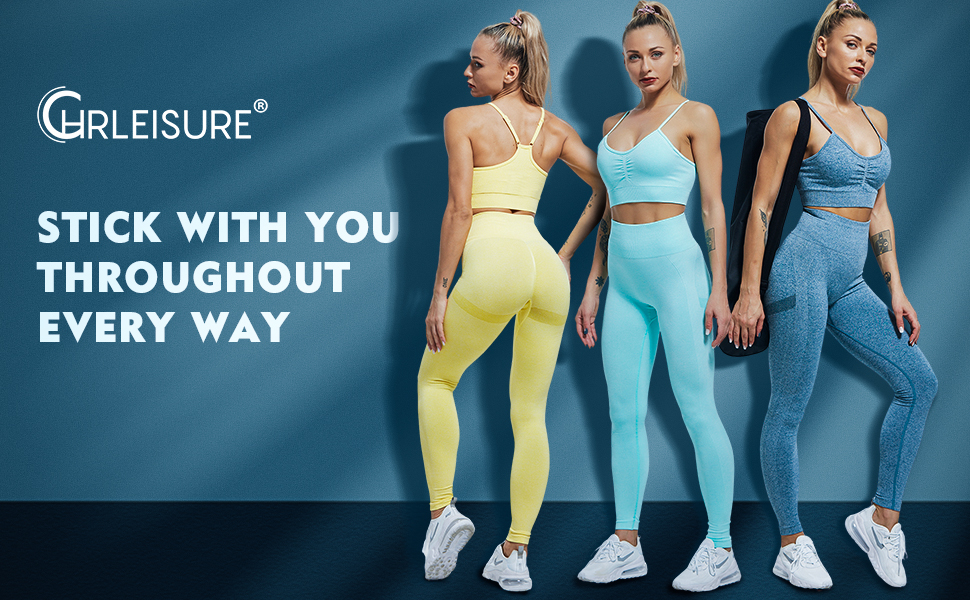 CHRLEISURE Butt Lifting Workout Seamless Leggings, Scrunch Butt Yoga Pants Squat Proof Workout Tight