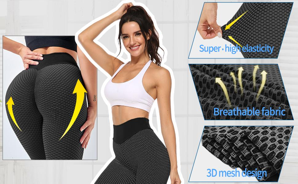 Butt Lifting Leggings for Women High Waist Workout Texture Sexy Gym Yoga Pants Anti Cellulite Tights